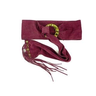 Roberto Cavalli Womens Pink Suede Gold Ringed Tassel Belt