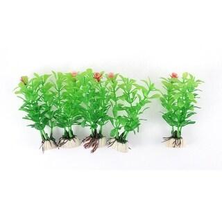 Fish Tank Aquarium Ceramic Base Plastic Plants Decoration Green Red 5PCS