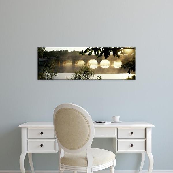 Easy Art Prints Panoramic Images's 'Stone Bridge In Fog, Loire Valley, France' Premium Canvas Art