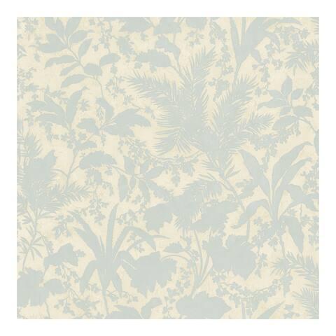 Fauna Blue Silhouette Leaves Wallpaper - 396in x 20.5in 0.25in