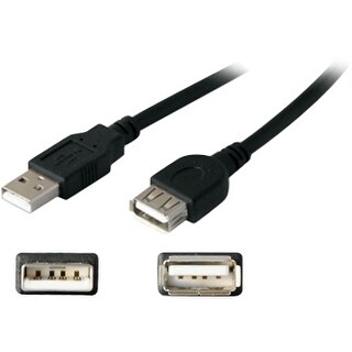 """AddOn USBEXTAA6INB AddOn 15.24cm (6.00in) USB 2.0 (A) Male to Female Black Extension Cable - 100% compatible with select"