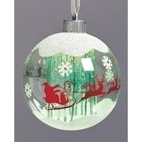 "4.75"" LED Santa and Sleigh Glass Ball Christmas Ornament - green"