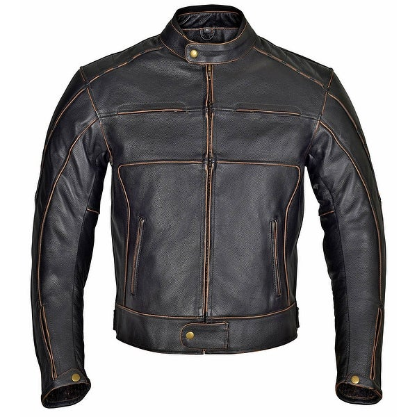 43a078f92f2 Shop Men Motorcycle Armor Leather Jacket Vintage Style - Free ...