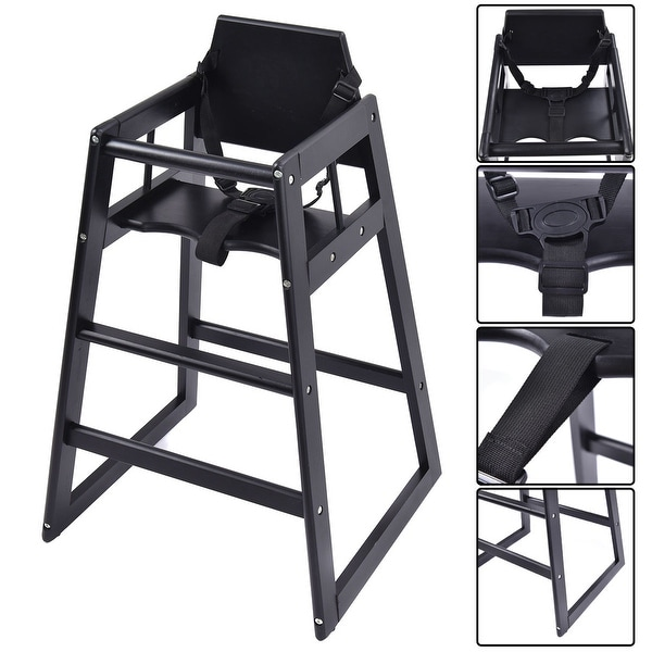 Costway Baby High Chair Wooden Stool Infant Feeding Children Toddler Restaurant Natural (BK) - Black