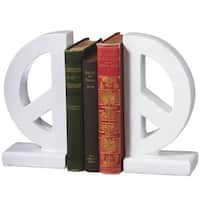 """Set of 2 White Peace and Love Sign Motif Decorative Bookends 8.5"""""""