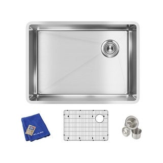 "Elkay ECTRU24179RTC  Crosstown 25-1/2"" Undermount Single Basin Stainless Steel Kitchen Sink with Sound Dampening"