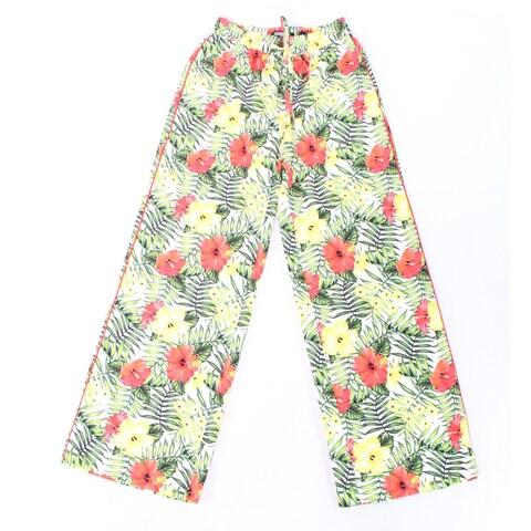 XOXO Green Women Size 2 Stretch Floral Print Drawstring Dress Pants
