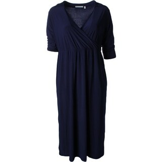 NY Collection Womens Plus Evening Dress Matte Jersey Surplice