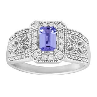 1/2 ct Natural Tanzanite & Natural White Topaz Ring in Sterling Silver - Purple