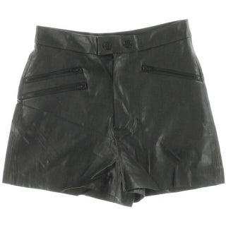 Zara Womens Faux Leather Flat Front Casual Shorts - XS