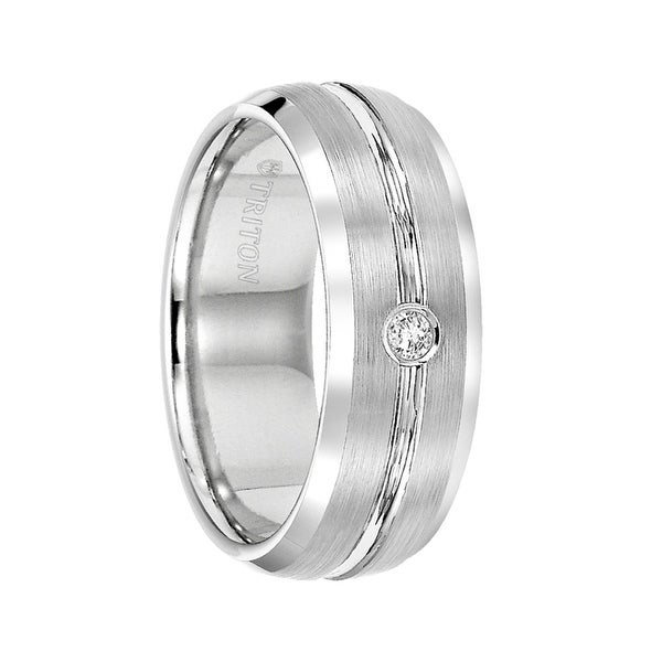 RODRIGO Satin Tungsten Diamond Setting Wedding Band with Polished Edges by Triton Rings - 8mm