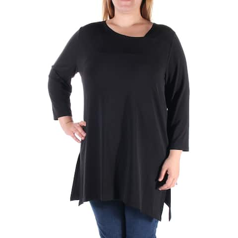 ALFANI Womens Black 3/4 Sleeve Jewel Neck Top Size XS