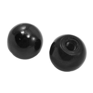 Unique Bargains 2 Pcs 5.4mm Metal Threaded Mounted 24mm Dia Ball Lever Knobs Black