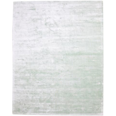 One of a Kind Hand-Woven Modern 8' x 10' Solid Viscose Silver Rug - 8' x 10'