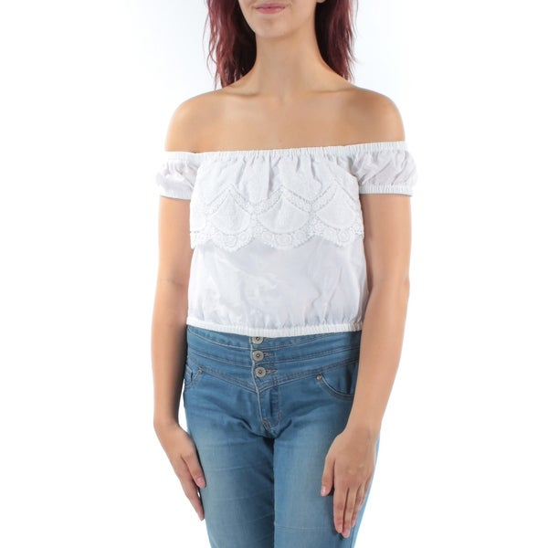 e482977e373 Shop KENSIE Womens White Lace Short Sleeve Off Shoulder Crop Top Size: M -  Free Shipping On Orders Over $45 - Overstock - 21312497