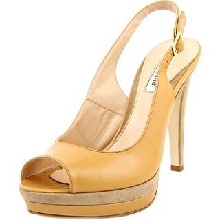 Charles David Shelby Women Peep-Toe Leather Tan Slingback Heel