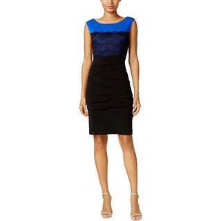 Connected Apparel Womens Cocktail Dress Lace Overlay Shutter Pleat