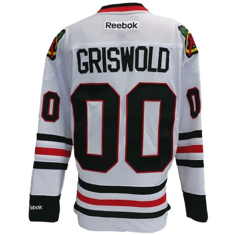 Chevy Chase Griswold Christmas Vacation Blackhawks Reebok Premier Jersey Medium