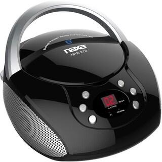 Naxa NPB-270 Naxa CD Boombox with Bluetooth - 1 x Disc - 2.4 W Integrated - Black - CD-DA - Auxiliary Input