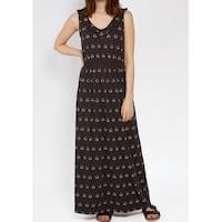 FAT FACE Black Charcoal Printed Women's Size 2 Ruffled Maxi Dress
