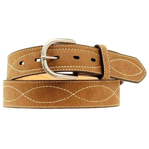 Nocona Western Belt Mens Leather Fancy Stitched Rich Earth