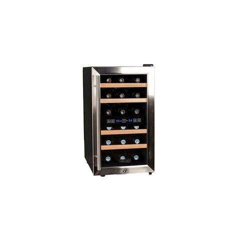 "Koldfront TWR187E 14"" Wide 18 Bottle Wine Cooler with Dual Cooling Zones - Stainless Steel"