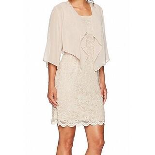 Jessica Howard Beige Womens Size 12P Petite 2Pc Lace Sheath Dress