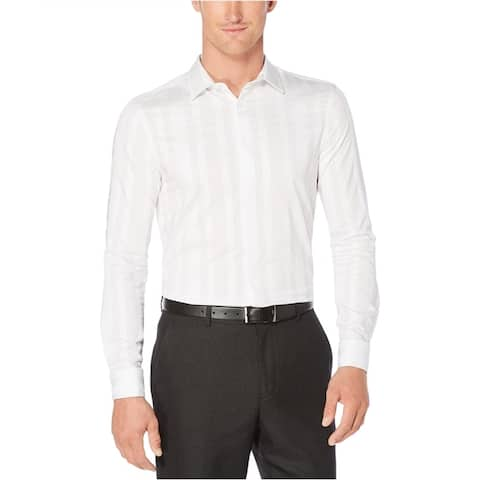 Perry Ellis Mens Dobby Striped Button Up Shirt