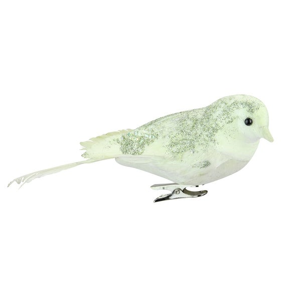 "6.75"" Good Tidings Green and White Glittered Clip-On Bird Christmas Ornament"