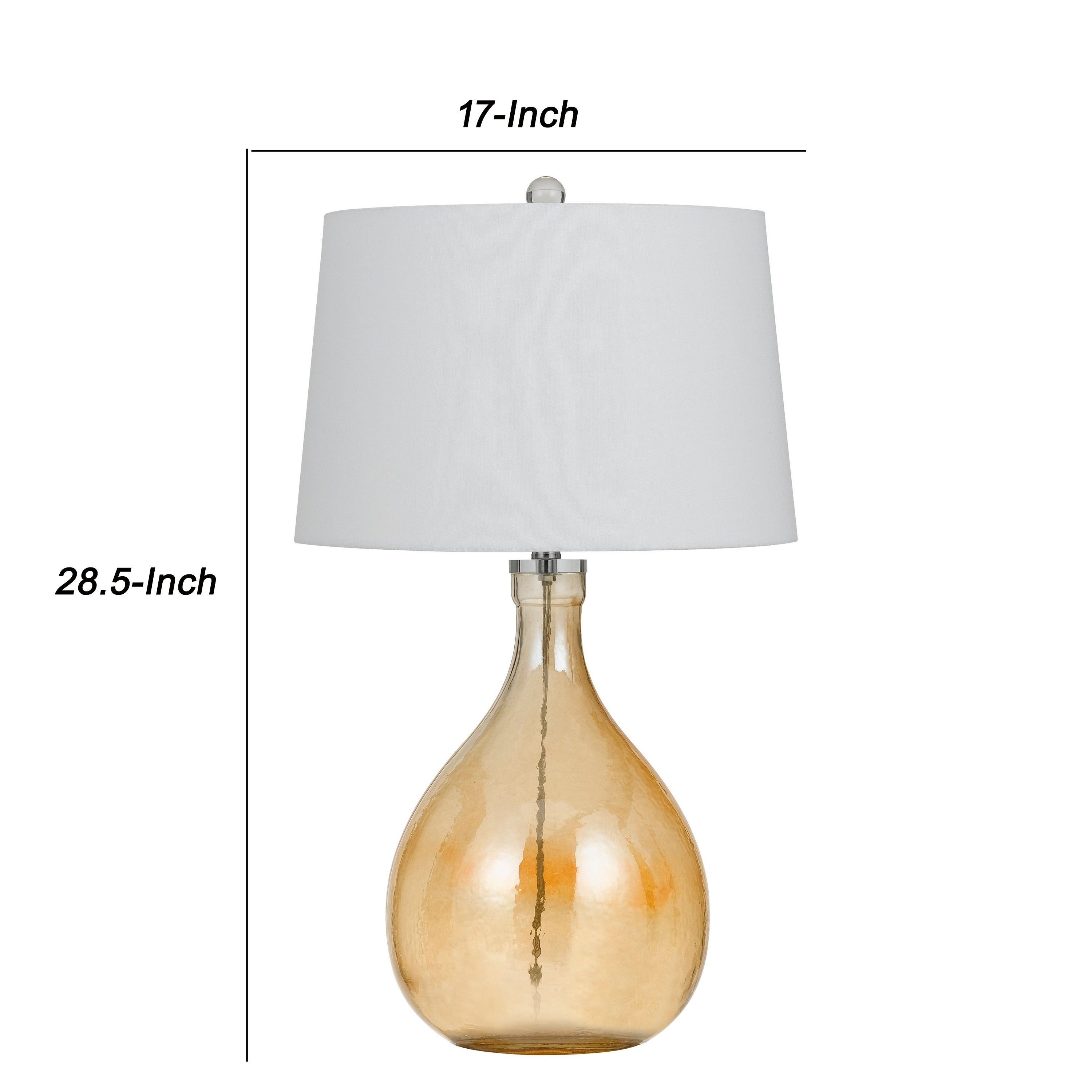 Shop Fabric Shade Table Lamp With Bellied Glass Base White And Orange On Sale Overstock 31681483