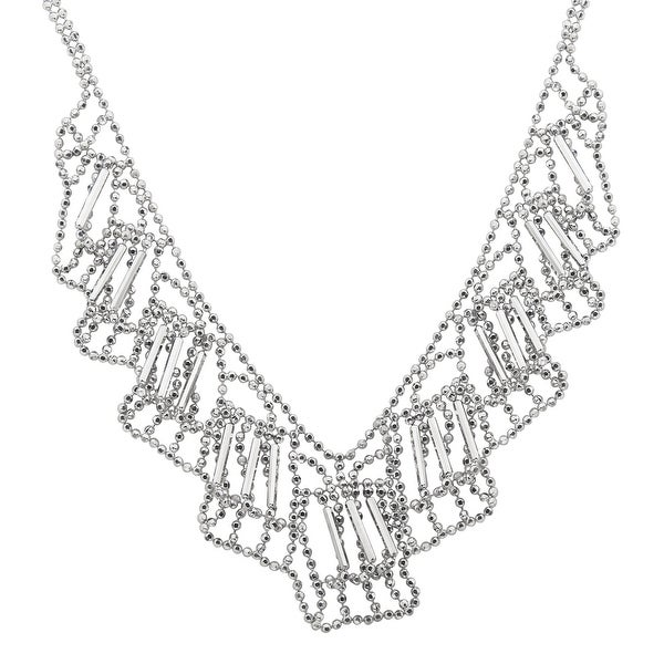 Beaded Bib Necklace in Sterling Silver - White