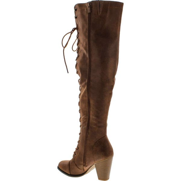 Forever Camila-48 Women's Chunky Heel Lace Up Over The Knee Brown High  Riding Boots - Overstock - 14809763