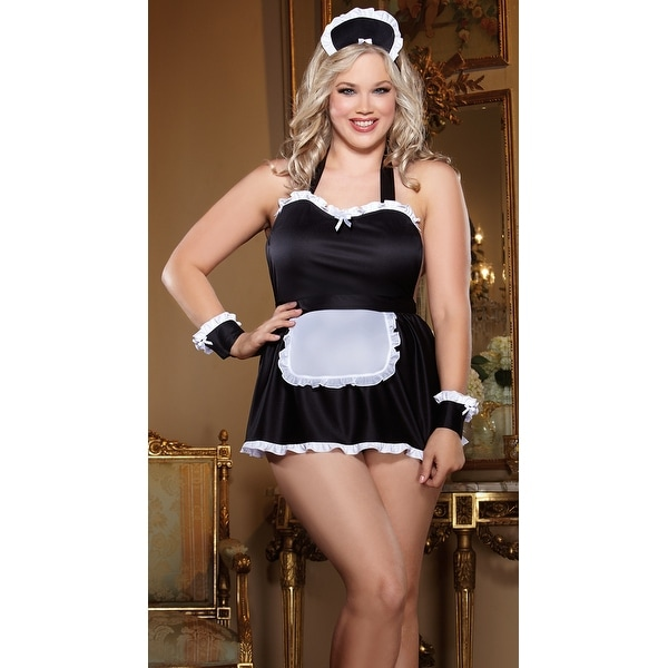 Plus Size Hoty French Maid Babydoll Set Plus Size French Maid Bedroom Costume - BLACK  sc 1 st  Overstock.com & Shop Plus Size Hoty French Maid Babydoll Set Plus Size French Maid ...