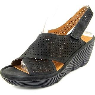 Clarks Clarene Award Women W Open Toe Leather Black Wedge Sandal