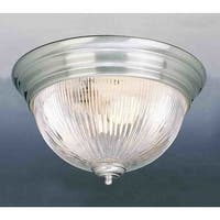 Volume Lighting V7210 1-Light Flush Mount Ceiling Fixture with Clear Ribbed Glass Dome Shade