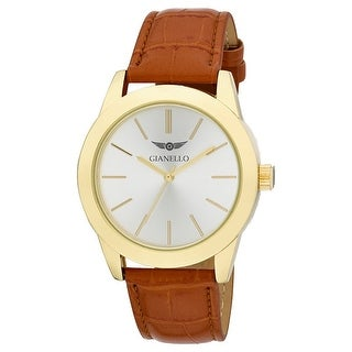 Gianello Mens 43mm Round Case Leather Strap Watch