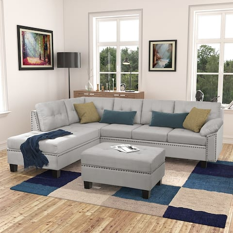 Sectional Sofa Set with Chaise Lounge and Storage Ottoman Nail Head Detail