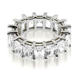 5.50 cttw. 14K White Gold Classic Bar Set Emerald Cut Diamond Eternity Ring