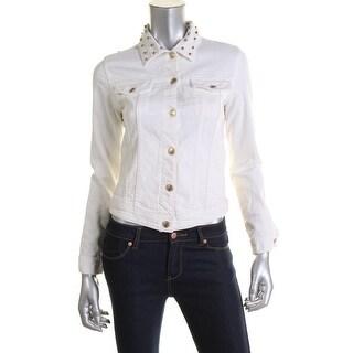 Zara Womens Denim Studded Jean Jacket