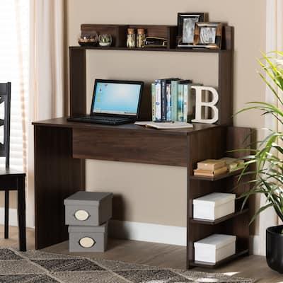 Garnet Modern Walnut Brown Finished Wood Desk with Shelves