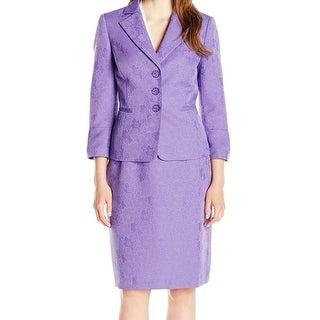 Le Suit NEW Purple Amethyst Jacquard Women's Size 16 Skirt Suit Set
