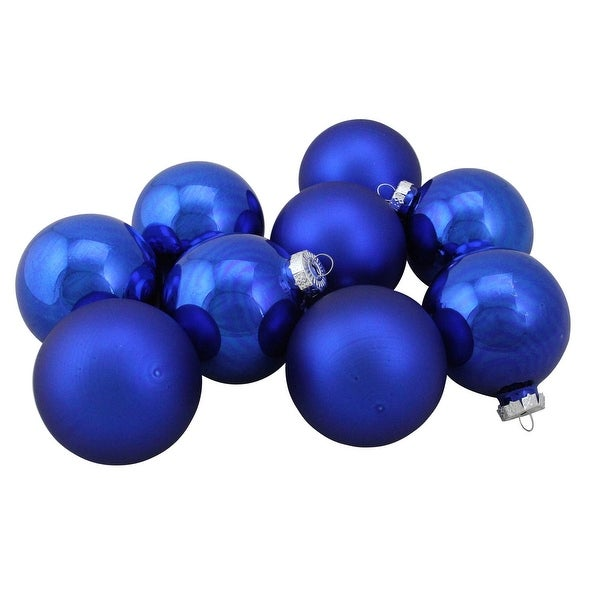 "9-Piece Shiny and Matte Blue Glass Ball Christmas Ornament Set 2.5"" (65mm)"