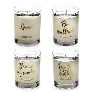 Premium Soy Wax Jar Candles, Lemon and Peach Belini Scents (Set of 4)