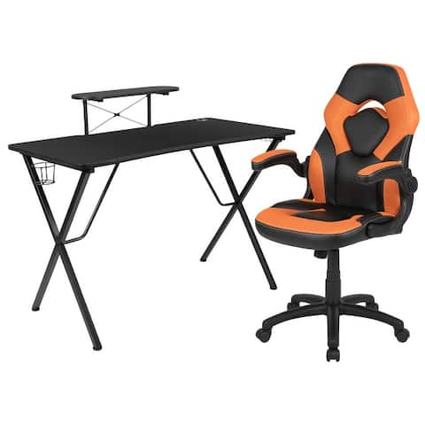 Gaming Desk & Chair Set with Cup Holder, Headphone Hook, and Monitor Stand