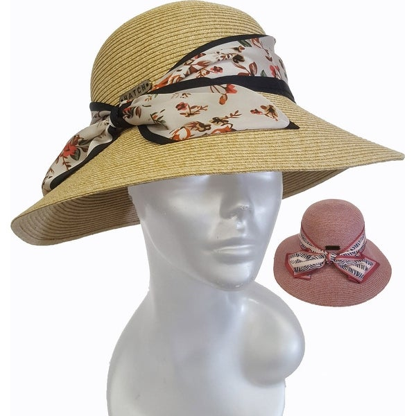 Womens hand sewn straw braid sun protective floppy hat. Opens flyout.