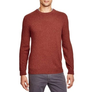 Bloomingdales Mens 2-Ply Cashmere Crewneck Sweater XL Cinnamon Elbow Patches