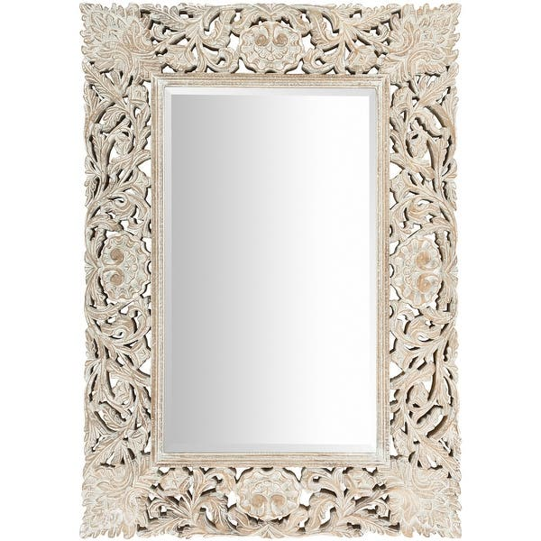 Brinley White Washed Hand Carved Bohemian Wall Mirror 30 X 42 Overstock 23144114