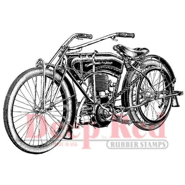 "Deep Red Cling Stamp 3""X2""-Early Motorcycle"