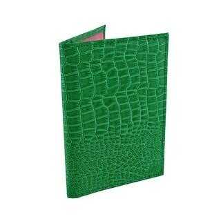 Glossy Green Mock Croc Textured Vinyl Passport Cover