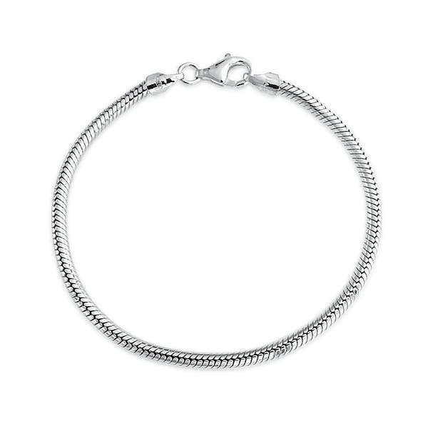00c6f63f3 Bling Jewelry Sterling Silver Snake Chain Bracelet 3mm for European Charms  Bead